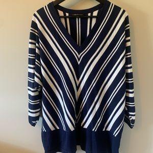 Lane Bryant / Navy & White / Striped / Sweater